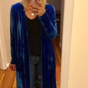 Blue VELVET duster cardigan